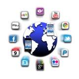 apps netwerk van de iphone het mobiele wereld   Royalty-vrije Stock Foto