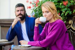 Apps normal way to meet and connect with other single people. Couple terrace drinking coffee. Casual meet acquaintance. Public place. Meeting people first date royalty free stock images
