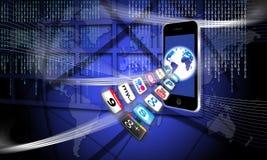 Apps op een veilig mobiel draadloos netwerk Stock Afbeelding