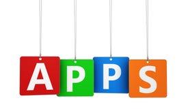 Apps ord på etiketter Royaltyfria Foton
