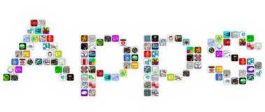 Apps - palabra de la forma de los iconos del azulejo en el fondo blanco Fotografía de archivo libre de regalías