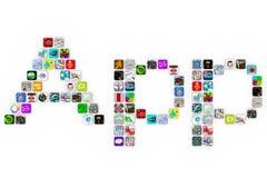 Apps - palabra de la forma de los iconos del azulejo en el fondo blanco ilustración del vector