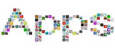 Apps - palavra do formulário dos ícones da telha no fundo branco Fotografia de Stock Royalty Free