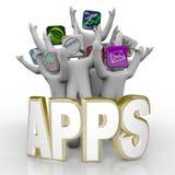 Apps - palavra e Cheering dos povos Fotografia de Stock Royalty Free