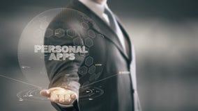 Apps personal con concepto del hombre de negocios del holograma ilustración del vector