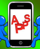 Apps On Phone Displays Internet Application Or App Stock Images