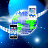 Apps on a secure mobile wireless network vector illustration
