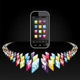 apps smartphone παρουσίασης εικονιδίων Στοκ εικόνα με δικαίωμα ελεύθερης χρήσης