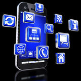 Apps for smartphones. 3D illustration of an smartphone an apps Royalty Free Stock Photography
