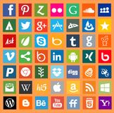 Apps social media networking logo signs. Facebook, twitter ,pinterest, youtube ,google and other popular social media website logos Royalty Free Stock Photo