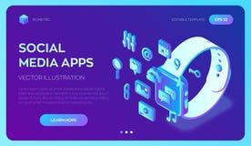 Apps sociales de los medios en un Smart Watch Iconos isométricos sociales de los medios 3d Apps móviles Creado para el móvil, web ilustración del vector