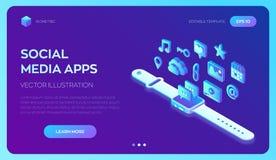 Apps sociales de los medios en un Smart Watch Iconos isométricos sociales de los medios 3d Apps móviles Creado para el móvil, web stock de ilustración