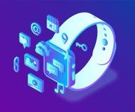 Apps sociales de los medios en un Smart Watch Iconos isométricos sociales de los medios 3d Apps móviles Creado para el móvil, web libre illustration