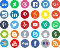 Apps sociales del establecimiento de una red medios stock de ilustración