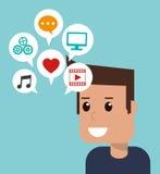 Apps sociaux de media d'homme de bande dessinée Image libre de droits