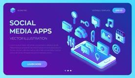 Apps sociaux de media sur un smartphone Icônes isométriques sociales des médias 3d Apps mobiles Créé pour le mobile, Web, décor,  illustration de vecteur
