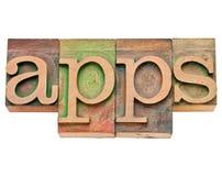 Apps - software para los dispositivos móviles Foto de archivo libre de regalías