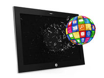 APPS Sphere Breaking Through From Tablet PC Display Stock Photo