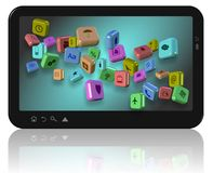 Apps on tablet Stock Photo