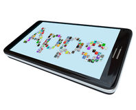 Apps - Tile Icons on Smart Phone stock illustration
