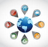 Apps and tools around a globe. illustration Royalty Free Stock Photography