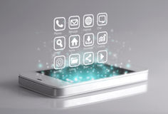Apps tridimensionali sullo smartphone Fotografia Stock Libera da Diritti