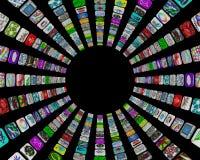 Apps in un reticolo circolare - tasti delle mattonelle Immagini Stock Libere da Diritti