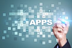 Apps utvecklingsbegrepp Affärs- och internetteknologi Royaltyfri Fotografi