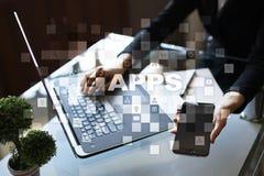 Apps utvecklingsbegrepp Affärs- och internetteknologi Arkivfoton