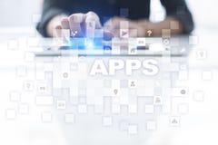 Apps utvecklingsbegrepp Affärs- och internetteknologi Arkivfoto