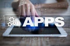 Apps utvecklingsbegrepp Affärs- och internetteknologi Royaltyfria Bilder