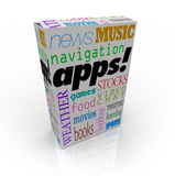 Apps Word on Cereal Box and Many Software Types. A cereal box with the word Apps and a listing of many different types op application software programs - music Stock Photography