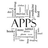Apps Word Cloud Concept in black and white Royalty Free Stock Image