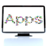 Apps Word Icons on Television Screen Stock Image