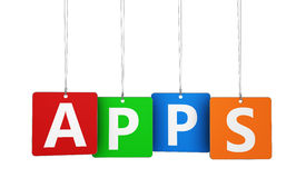 Apps Word sur des étiquettes Photos libres de droits