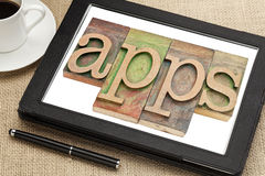 Apps-Wort auf digitaler Tablette stockfotos