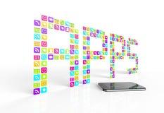 Apps y teléfono celular Fotos de archivo libres de regalías