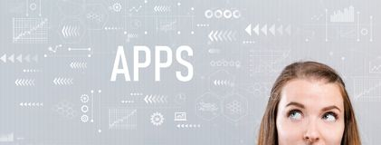 Apps with young woman stock image