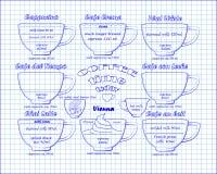 Appucino del  del esquema Ñ del café, crema, leche, latte, Viena Fotografía de archivo libre de regalías