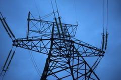 Appui de la ligne des transmissions électriques de la station photos libres de droits