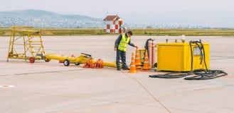 Appui de travailleur d'aéroport photos stock