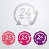 Appui et service - vingt-quatre heures sur vingt-quatre ou 24 heures sur 24 l'icône Photo stock