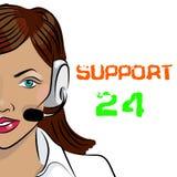 Appui 24 heures sur 24 de téléphone Expéditeur de femme Illustration de vecteur Image stock