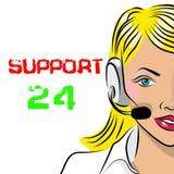 Appui 24 heures sur 24 de téléphone Expéditeur de femme Illustration de vecteur Photographie stock