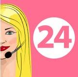 Appui 24 heures sur 24 de téléphone Expéditeur de femme Illustration de vecteur Photographie stock libre de droits