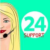 Appui 24 heures sur 24 de téléphone Expéditeur de femme Illustration de vecteur Images libres de droits