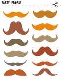 Appui verticaux imprimables de vecteur de cabine de photo réglés Diverses formes et moustache de couleurs DIY illustration libre de droits