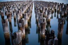 Appuis de pilier de bois de construction Photographie stock libre de droits