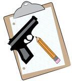 Appunti con la matita e la pistola Immagini Stock Libere da Diritti