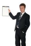 Appunti della holding dell'uomo d'affari Immagini Stock